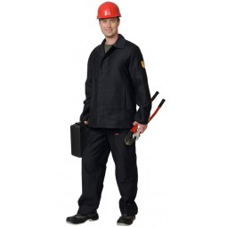 Костюм огнестойкий МОЛЕСКИН: куртка+брюки (тк. молескин), цв. чёрный ТУ