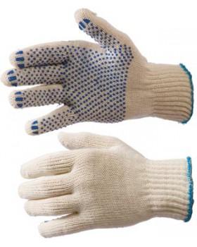 Перчатки трикотажные с ПВХ белые, хб/пэ, 5-ти нитка, 7,5 класс вязки