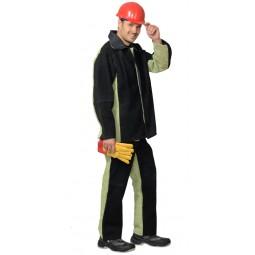 Костюм сварщика КОМБИНИРОВАННЫЙ УТЕПЛЕННЫЙ: куртка+брюки, брезент ОП со спилком 2,3 кв.м., тип Б