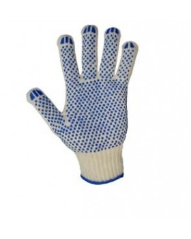 Перчатки трикотажные с ПВХ, 5-ти нитка, хб/пэ, 10 кл вязки, 20 размер