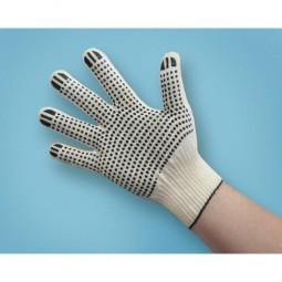 "Перчатки трикотажные с ПВХ ""точка"", 4-х нитка, хб/пэ, 10 кл вязки. Оверлок Х-нить."