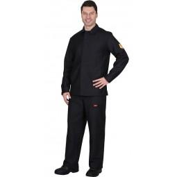Костюм огнестойкий МОЛЕСКИН с накладками: куртка+брюки (тк. молескин), цв. чёрный ГОСТ