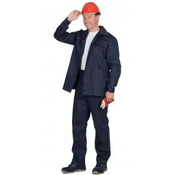 """Костюм """"ИМПУЛЬС"""": куртка+брюки, цв. т.-синий с красным кантом, х/б 100%, пл.210 г/кв.м"""