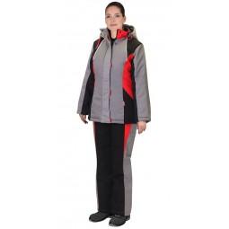 """Костюм утепленные женский """"Сибирячка"""": куртка+п/к, серый с черн. и красным"""