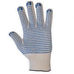 Перчатки трикотажные с ПВХ, 6-ти нитка, хб/пэ, 7,5 класс