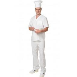 Костюм пекаря универсальный: блуза+брюки, цв. белый