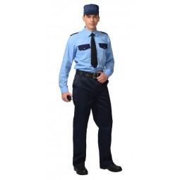 Рубашка охранника длинный рукав, цв.голубой/т.-синий