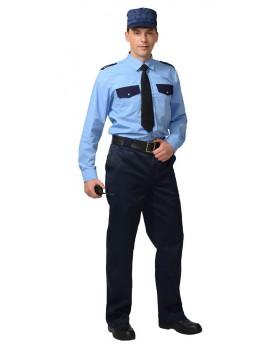 Рубашка охранника длинный рукав, цв. синий