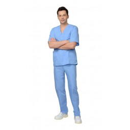 Костюм хирурга универсальный: блуза+брюки, цв. голубой