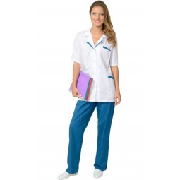 """Костюм женский """"ЛИЗА"""": куртка+брюки, цв. белый с тёмно-бирюзовым"""