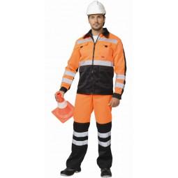 """Костюм сигнальный """"МАГИСТРАЛЬ-ЛЮКС"""": куртка+брюки, цв. оранжевый с чёрным и СОП"""