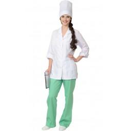 "Костюм женский ""ЖАСМИН"": куртка+брюки+колпак, цв. белый с салатовым"