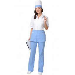 """Костюм женский """"СТЕФАНИ"""": куртка+брюки+колпак, цв. белый с голубым (СТ)"""