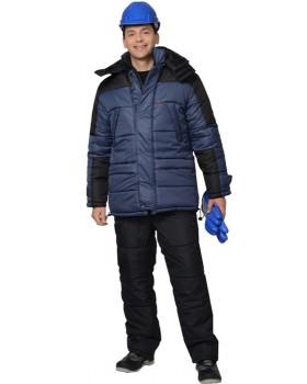 """Куртка утепленная """"ЕВРОПА"""", цв. синий с чёрной отделкой"""