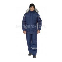 """Костюм утепленный """"Аляска-АС"""": куртка+брюки, цв.т.синий/оранжевый"""