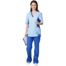 """Костюм женский """"ИРИНА"""": куртка, брюки светло-синий с голубым"""