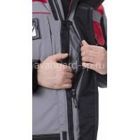 """Костюм утепленный """"Виват-АС"""": куртка+полукомбинезон, цв. серый с черной и красной отделкой"""