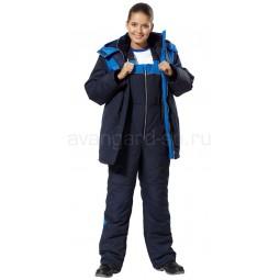 """Костюм утепленный женский """"Лавина-АС"""": куртка+п/к, цв. т.-синий с васильковой отделкой"""