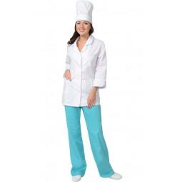"Костюм женский ""ЖАСМИН"": куртка+брюки+колпак, цв. белый со светло-бирюзовым"