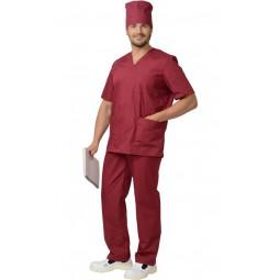 Костюм хирурга универсальный: блуза+брюки, цв. бордовый