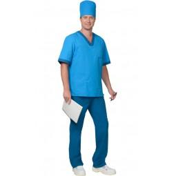 """Костюм """"РЕАЛ"""": куртка+брюки, колпак, цв. светло-синий с бирюзовым"""