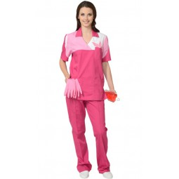 """Костюм женский """"ЛОТОС"""": куртка+брюки, цв. сливовый с тепло-розовым"""