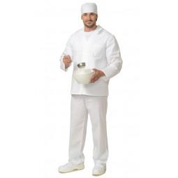 Костюм повара мужской: куртка+брюки, цв. белый
