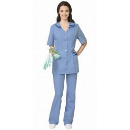 """Костюм женский """"ЖЕНЕВА"""": куртка+брюки, цв. светло-голубой с темно-синим"""