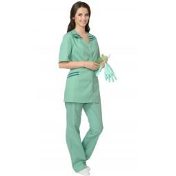 """Костюм женский """"ЖЕНЕВА"""": куртка+брюки, цв. светлая мята с темно-зеленым"""