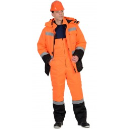 """Костюм сигнальный утепленный """"МАГИСТРАЛЬ-УЛЬТРА"""": куртка+полукомбинезон, цв. оранжевый с черным"""