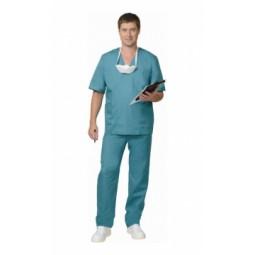 Костюм хирурга универсальный: блуза+брюки, цв. зелёный