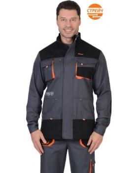 """Комплект """"МАНХЕТТЕН ПК"""": куртка+полукомбинезон,т.серые с оранжевым и черным, тк. Стрейч"""