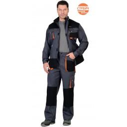 """Комплект """"МАНХЕТТЕН Б"""": куртка+брюки,т.серые с оранжевым и черным, тк. Стрейч"""