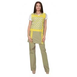 """Комплект """"ГАЛАТЕЯ"""" женский: фартук, брюки оливковый с желтым"""
