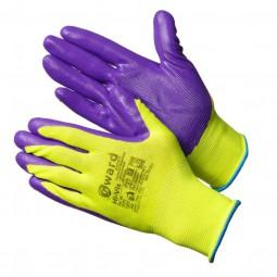"""Перчатки нейлоновые """"Hi-Vis"""" с нитрилом покрытием, цв.ярко-зеленый с фиолетовым"""