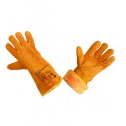 """Краги спилковые утепленные пятипалые для сварщиков, тип """"ТРЕК-Люкс"""" (оранжевые), иск.мех"""