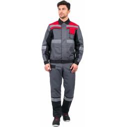 """Костюм """"Виват-1 Премиум"""" (тк.Рекорд,240) брюки, серый/черный/красный"""
