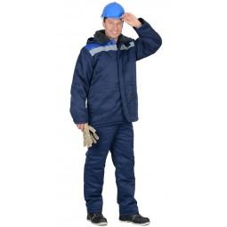 """Куртка утепленная """"БРИГАДИР"""", цв. т.-синий с васильковой кокеткой и СОП"""