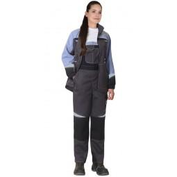 """Костюм женский """"Фаворит-Мега"""": куртка+полукомбинезон, цв.серый/черный/сиреневый с СОП"""