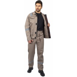"""Костюм """"Респект"""" (тк.Саржа,250) брюки, бежевый/коричневый"""