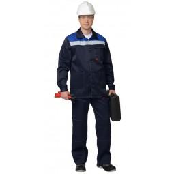 "Костюм ""СТАНДАРТ"": куртка+брюки, цв. т.-синий/васильковый, СОП 50 мм"