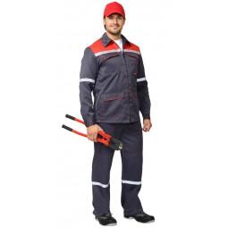 """Костюм """"МЕХАНИК/Сфера"""": куртка+брюки, цв. серый с красным и СОП"""