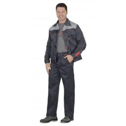 """Костюм """"ФАВОРИТ"""": куртка+брюки, цв. т.-серый/серый, тк.смесовая"""