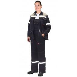 """Костюм женский """"Механик"""": куртка+полукомбинезон, цв.т.-синий/серый и СОП 25мм"""