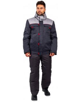 """Куртка утепленная """"Фаворит NEW-ФАКЕЛ"""" укороченная (тк.Балтекс,210), т.серый/серый"""
