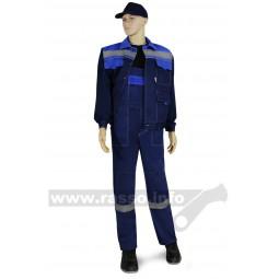 """Костюм """"Нова"""": куртка+полукомбинезон, тк.смесовая, цв. т.синий с васильковым СОП 50мм"""