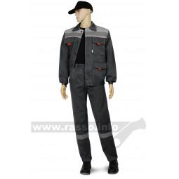 """Костюм """"Нова"""": куртка+брюки, тк.смесовая, цв. т.синий с васильковым СОП 50мм"""