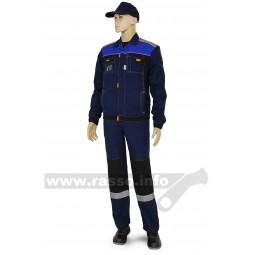 """Костюм """"Модуль"""": куртка+полукомбинезон, тк.смесовая, пл. 240 гр/м2, цв. т.синий/черный/василек"""