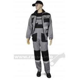 """Костюм """"Канзас"""": куртка+полукомбинезон, тк.смесовая, пл. 240 гр/м2, цв. св.серый/черный"""